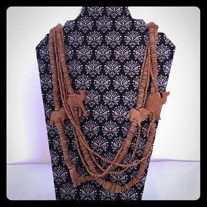Artisan Wood Bead 5 Strand Necklace