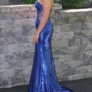Long sequin prom dress in blue