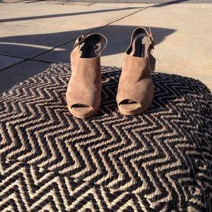Open toe suede heels