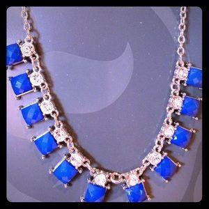 Blue Jewel Necklace w Diamonds Fashion Jewelry 