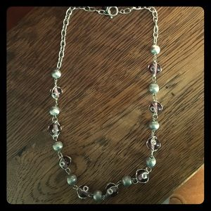 purple and silver ball necklace