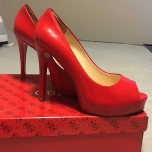Guess Shoes - Red Guess peeptoe heels