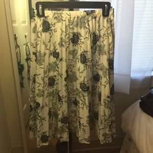 Navy Blue & White Midi Skirt!
