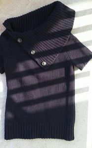 Theory Thick Knit Cashmere Sweater Navy Buttons