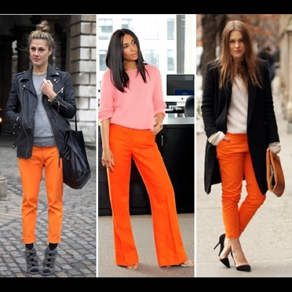 87% off J. Crew Pants - J.Crew orange linen trousers size 0 from ...