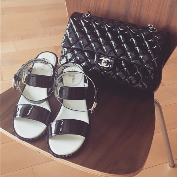 CHANEL Shoes | Black And White Sandal | Poshmark