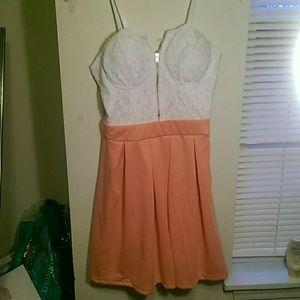 Floral peach-pink dress
