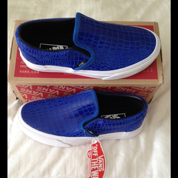 7cc59bbe7a Vans Blue Snake Leather Classic Slip-On