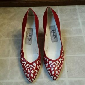 Red/White Bally Pumps