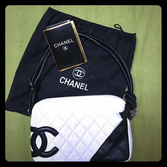 12a897a39aa6 CHANEL Bags | Whiteblack Ligne Cambon Quilted Pochette | Poshmark