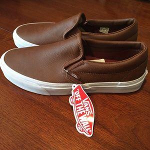 14d763707a35 Vans Shoes - Vans NWT leather slip-ons