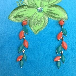 Orange Turquoise Fancy Falling Vine Leaf Earrings