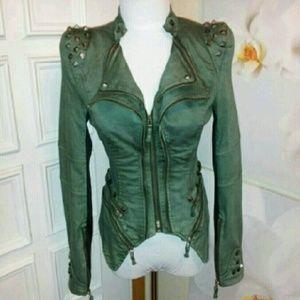 ~NWOT~Punk Studded Zipper Amy Green Jacket