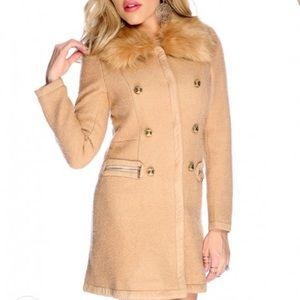 Tan nude coat jacket fur collar outerwear new gold