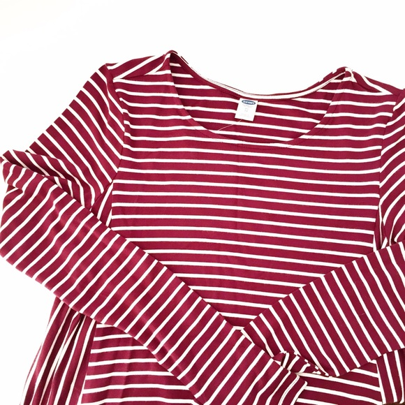 1fb1a0cca288 Old Navy Dresses | Maroon White Striped Swing Dress | Poshmark