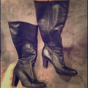 J Crew black leather boots sz 8.5