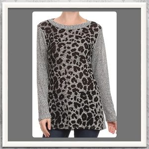 Sweaters - Gray Leopard Sweater