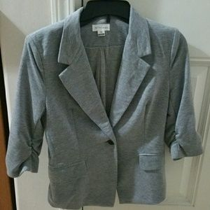Foreign Exchange Jackets & Blazers - 3/4 Sleeve Fitted Gray Blazer