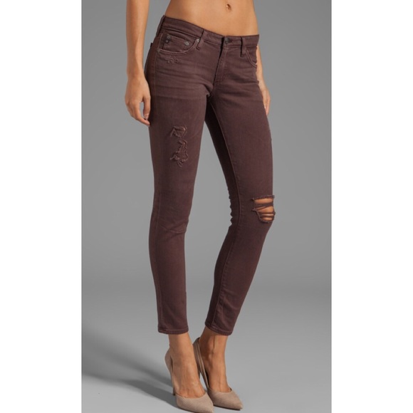 ce54d276205eb AG Adriano Goldschmied Jeans | Ag Legging Ankle Brown Destroyed ...