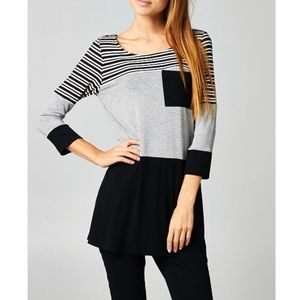 "LOWEST ""Charm"" Colorblock Striped Tunic Top"