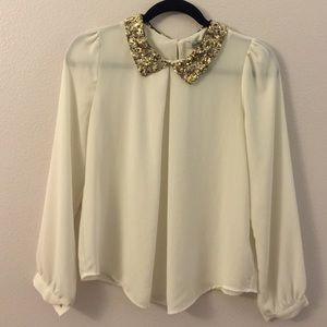 Cream white blouse with gold sequence collar