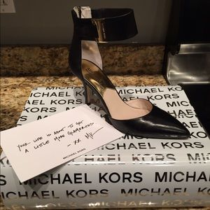 Michael Kors Sexy Black Heels with Gold Accents