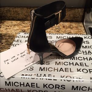 Michael Kors Shoes - Michael Kors Sexy Black Heels with Gold Accents