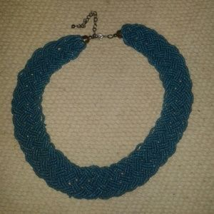 Vintage aqua blue beads necklace