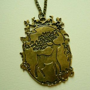 Bronze Deer Cameo Bambi Sweater Necklace