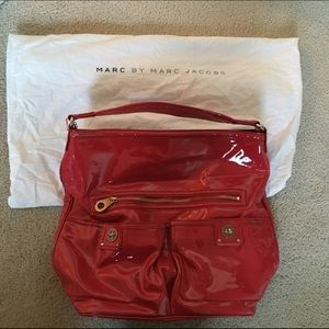 Marc by Marc Jacobs red patent hobo bag