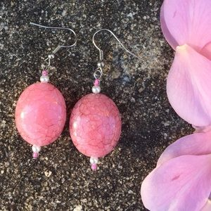 Large Pink Oval Earrings