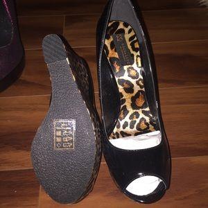 Cheetah Peep Toe Wedges