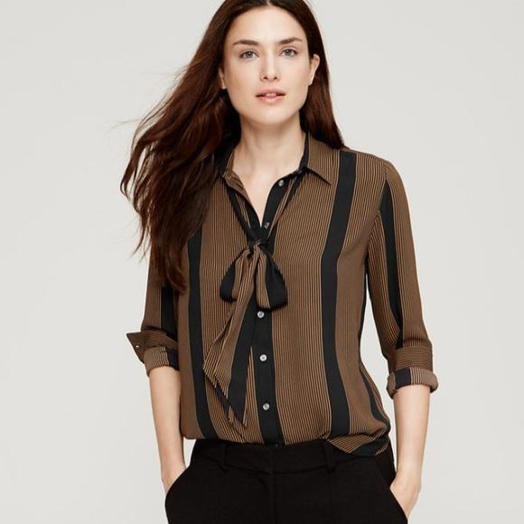 5a537d6a95551 LOFT striped tie neck blouse PRICE FIRM