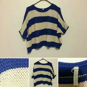 Willow and clay loose woven shirt striped blue