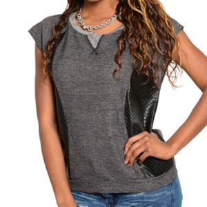 Gray top with faux leather accents