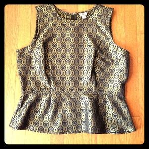 SALE lovely sleeveless black, gold, silver top XL