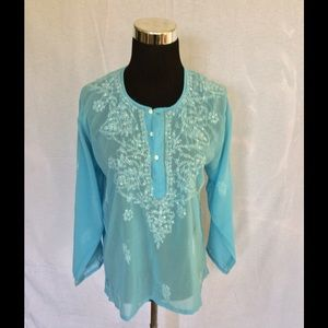 Tops - Silk sheer blouse beaded beach cover-up