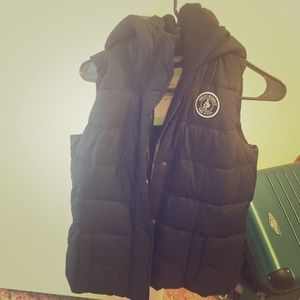 Abercrombie and Fitch navy puffer vest with hood