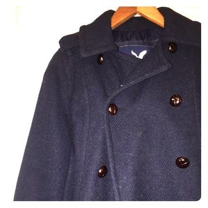AMERICAN EAGLE navy double breasted pea coat