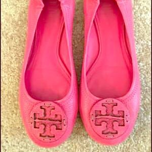Tory Burch Pink Leather Ballet Flats size 6 1/2