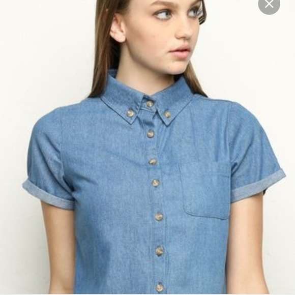 Brandy melville brandy melville payton denim shirt from for Baseball button up t shirt dress