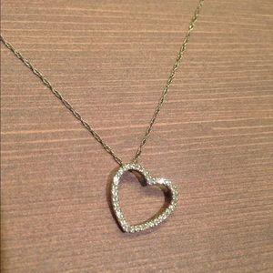 Diamond Heart Necklace 14k White Gold