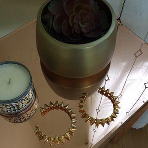 "CC Skye Jewelry - CC Skye Hoop Gold Earrings Studded Triangle 1.5"""