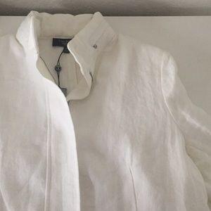 Talbots Jackets & Blazers - Talbots - White Linen Military Jacket