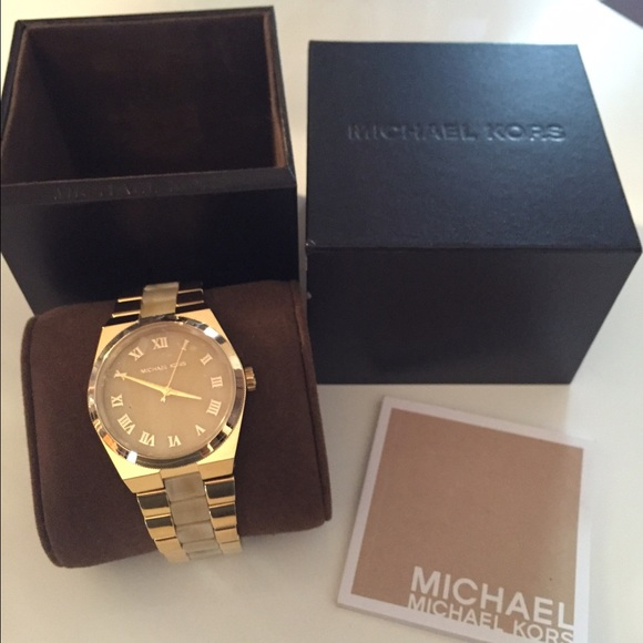 0f67864e00e3 Michael Kors Channing Gold-Tone Horn Acetate Watch.  M 568ed4bd7fab3a592f013b10