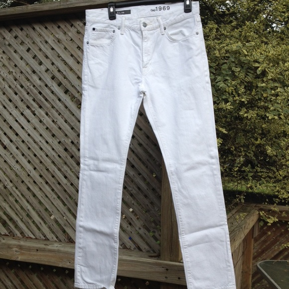 gap 1969 mens white jeans