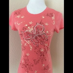 Graphic T shirt pink fitted look Knit soft cotton