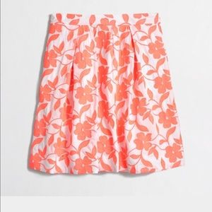 Neon Orange Floral Pleated Skirt