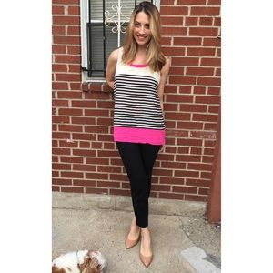 Tops - Striped and Color Blocked Tunic Blouse