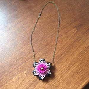 Black and pink flower necklace
